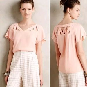 Maeve Anthropologie Short Sleeve Top Blouse Size 4